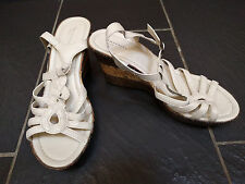 BARRATTS CREAM WEDGE STRAPPY SANDALS SIZE 7 EUR 41 NEW WITHOUT TAGS