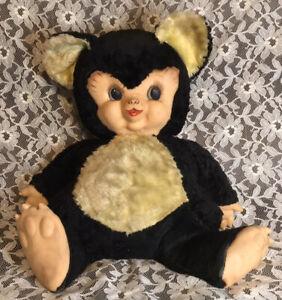 "RUSHTON RUBBER FACE CHUBBY TUBBY BEAR 1950s PLUSH STUFFED ANIMAL PANDA LARGE 20"""