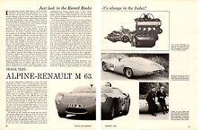 1964 ALPINE RENAULT M 63  ~  ORIGINAL 5-PAGE ARTICLE / AD