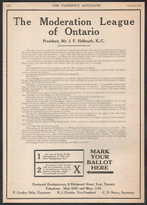 1924 Canadian Ontario Moderation League print ad Vote Prohibition