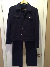 Women's Sport Set Blue Navy Lauren By Ralph Lauren Jacket Medium/pants Small