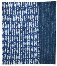 Fish Print Hand Block Twin Cotton Kantha Quilt Throw Blanket Bedspread Gudari