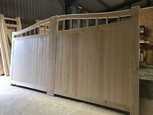 Large Wooden Swan Neck Gates Driveway Gate Curve Arched All Sizes Made To Order