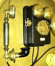 L.M. ERICSSON 1915 RARE SWEDEN ANTIQUE PHONE BLACK METAL AND BRASS GORGEOUS !