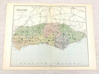 1889 Mappa Antica Di Sussex Eastbourne Lewes Rye Grinstead Horsham 19th Secolo