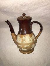 Antique Royal Doulton Lambeth Coffee Pot Embossed England Stoneware