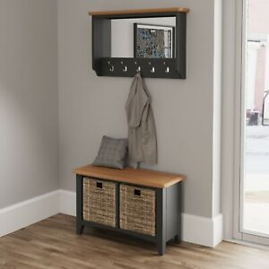 Farrow Grey Hall Bench / Modern Painted Hallway Shoe Storage Cabinet / Side Unit