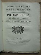 CLAVIERE : PROSPECTUS ETABLISSEMENT DES ASSURANCES VIE, 1788.