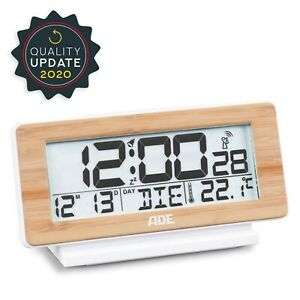 ADE Funk Wecker digital Funkuhr Tischuhr Weiß/Bambus DCF-Zeitsignal Temperatur