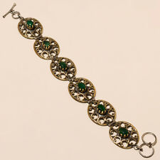 Two Tone Natural Emerald  Antique Vintage Fashion Jewelry Bracelet Handmade