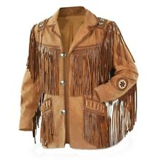 Men Suede Western Style Cowboy Leather Jacket With Fringe & Bead Work