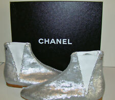 New in Box CHANEL 12A Silver Sequins Flat Booties Boots  38