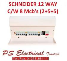 SCHNEIDER 17TH EDITION 12 WAY HIGH INTEGRITY DUAL RCD CONSUMER UNIT C/W 8 MCB'S