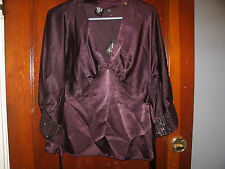 N.Y.C. eva jeanbart-lorenzotti ladies wine colored dress blouse size small