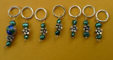 Stitch marker, knitting or crochetting, pearl, pewter flower and cloisonne beads