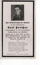 orig. STERBEBILD - DEATH CARD - PILOT - Kampfstaffel - Fliegertod 1943