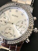 Guess Women's Silver Tone Crystal Chronograph Sporty Watch U0851L1 NWT Box