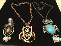 Lot of 3 Assorted Vintage Owl Pendant & Necklaces Faux Turquoise/Rhinestone