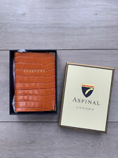 ASPINAL OF LONDON  CROC-EMBOSSED PASSPORT HOLDER MARMALADE TAN NEW BOXED