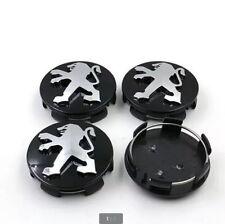BLACK Set 4X For Peugeot Wheel Center Hub Rim Cap Grey 206 207 307 407 408 60mm