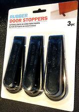 3 x RUBBER DOOR STOPPERS / STOPS - Black
