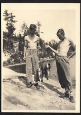 RIPPED MEN & SKINNY FISHING BUDDY SHIRTLESS GAY POSERS ~ 1930s 5x7 VINTAGE PHOTO