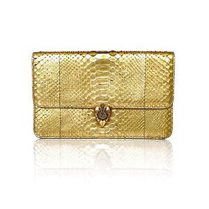 Alexander McQueen Gold Python Jewelled Crest Heart Clasp Oversized Clutch Bag