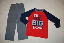 Boys Orange Gray L/S Shirt Waffle Knit Im The Next Big Thing Woven Pants Size 4
