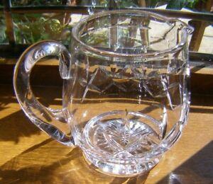 BEAUTIFUL STUART CUT GLASS CRYSTAL JUG CARLINGFORD ONE PINT CAPASITY 4 5/8 TALL