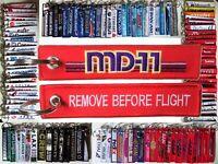 Keyring McDonnell Douglas MD-11 LOGO Remove Before Flight tag keychain pilot