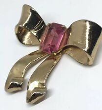 INV#796 - CORO  Bow Brooch Pink Crystal Gold Tone