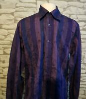 Ted Baker Mens Long Sleeve Striped Shirt  Purple Floral Collar Size 4