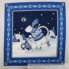 BonEful Fabric Cotton Quilt VTG Pillow Panel White Blue Polar Bear Winter Scenic