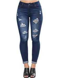 Sexyshine Women's High Waisted Skinny Destroyed, H1-dark Blue, Size 3X-Large