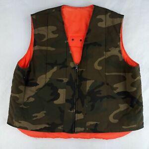 Unbranded Hunting Vest XL Bright Orange Reversible Green Camouflaged Field Vest