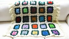 Vtg Hand Crochet 3D Multi Rose Flowers Granny Square Afghan Throw Evc 36� X 42�