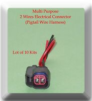 Lot 10 Kits 2 Wires Electrical Connector Pigtail Wiring Harness Multi Purpose