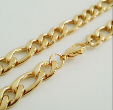 24'' 7mm Gold Stainless Steel Fashion figaro NK Curb Chain Necklace Never Fade