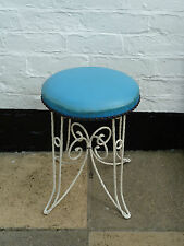 Vintage Retro Industrial Metal Stool with Blue Vinyl Seat