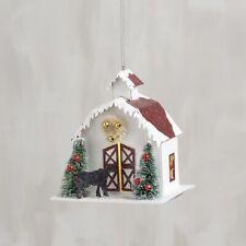 Lighted Christmas Farmhouse Barn~Bottle Brush Bristle Trees~Cow Ornament~Vintage