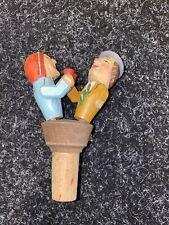 More details for vintage carved wood mechanical drinking couple cork wine bottle stop german