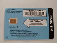 TRACFONE NANO SIM CARD AT&T GSM NETWORK FITS IPHONE 5S, 5C, 6, 6+, 6S