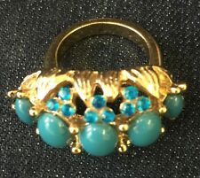1960s Turquoise Colour Cabochon & Diamanté Ring Gold Tone Shank And Mount