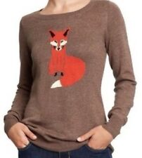 Old Navy Brown Red Fox Size Small Cotton Sweater Top FREE SHIP