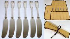 "6 Tiffany & Co Shell & Thread 1905 Sterling 5.75"" Flat Butter Spreader Knife Set"