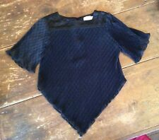 VINTAGE 1970's Yves Jennet Black Ruffled Pleated Disco Blouse Top s-m