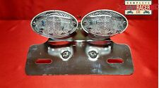 (L14) CAFE RACER REAR TWIN CAT EYE CLEAR LIGHT INDICATORS + NUMBER PLATE BRACKET