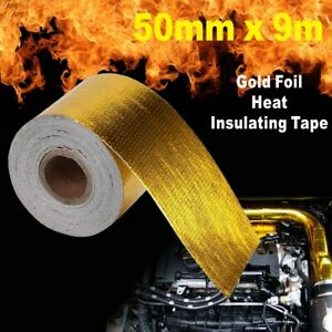 50mm* 9M Roll Adhesive Reflective Gold High Temperature Heat Shield Wrap Tape