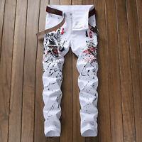 Men Fashion Skinny Jeans Slim Fit White Pants 3D Print Wolf Clubwear Trouses