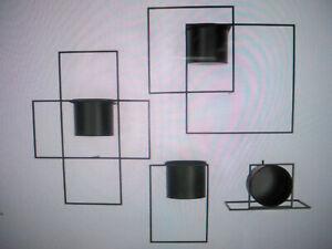 Wand-Objekt Pflanztopf Individuell an der Wand zu befestigen Eisen schwarz C